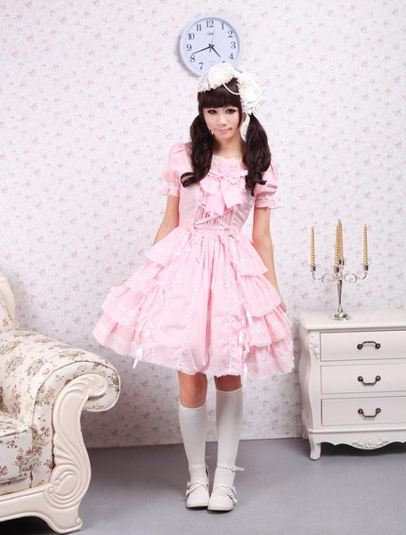 Milanoo coupon: Sweet Pink Lolita OP Dress Short Sleeves Ruffles Design
