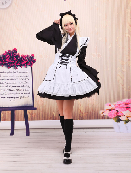Black Cotton Lolita OP Dress and White Apron Long Sleeves with Lace Up