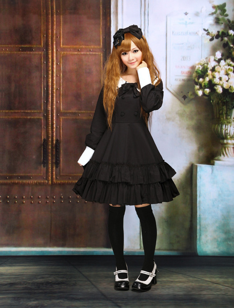 Cotton Black Lolita OP Dress Long Sleeves College School Style Ruffles