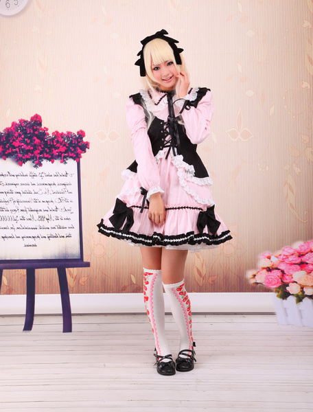 Sweet Pink Lolita OP Dress Black Vest Long Sleeves White Lace Trim