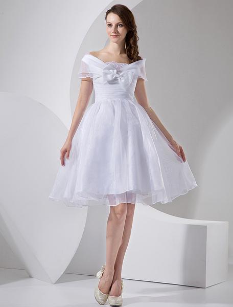 Milanoo coupon: White Knee Length Taffeta Mini Wedding Dress