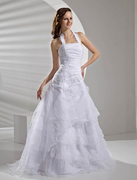 Milanoo coupon: Floor-Length White Bridal Wedding Gown with Halter A-line Applique