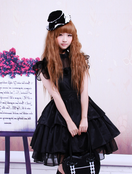 Rayon Yarn Black Lolita OP Dress with Ruffles Waist Belt