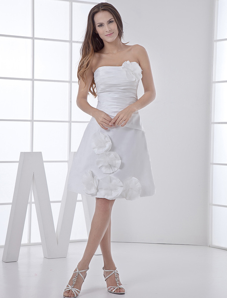 Milanoo coupon: White Wedding Dress Knee-Length Strapless Flowers Ruched Taffeta Wedding Gown