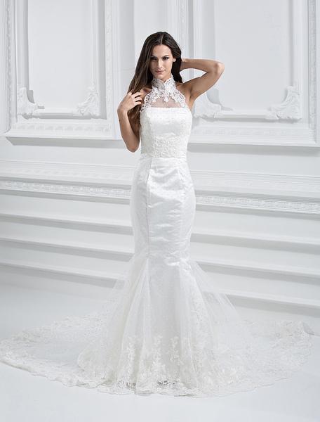 Milanoo coupon: Elegant White Net Strapless Mermaid Trumpet Column Wedding Dress