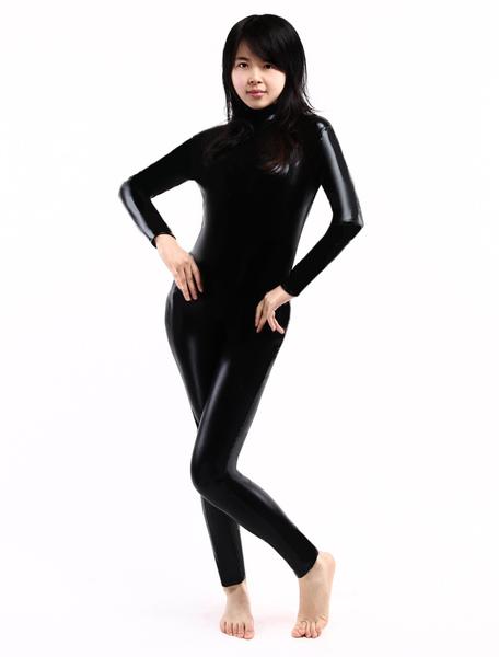Milanoo Halloween Morph Suit Black Shiny Metallic Catsuit