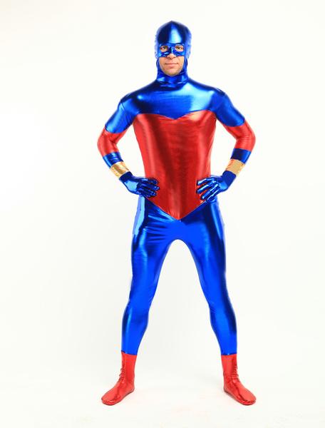Milanoo coupon: Halloween Blue And Red Shiny Metallic Unisex Zentai Suit