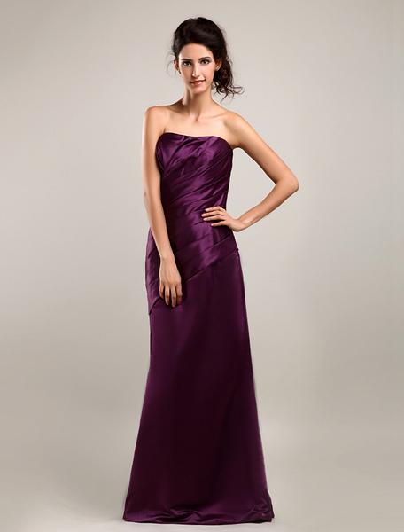 Milanoo coupon: Satin Strapless Floor Length Bridesmaid Dress