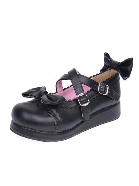 Milanoo coupon: Matte Black Lolita Platform Shoes Straps Bows Buckles