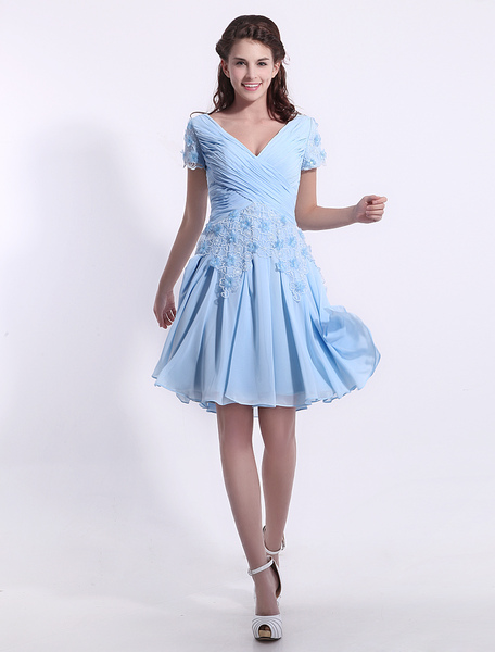 Chiffon Bridesmaid Dress Baby Blue Lace Applique  Cocktail Dress V Neck Short Sleeve A Line Pleated