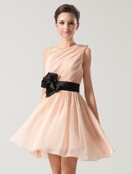One-Shoulder Bow Bridesmaid Dress Sash Chiffon Dress