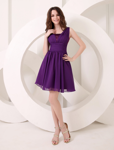 Deep Purple Bridesmaid Dress A-Line Chiffon Dress