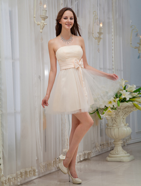 Gold Champagne Bridesmaid Dress Strapless Backless Sash Bows Tulle Dress