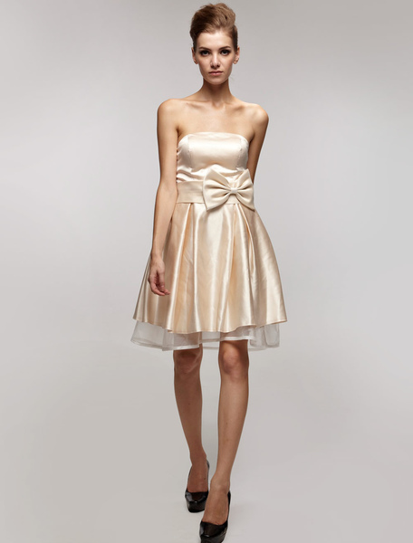 Gold Champagne Bridesmaid Dress Strapless Sash Bows Satin Dress