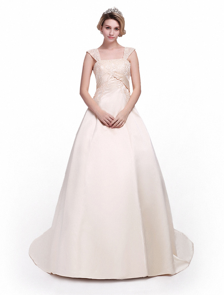 Milanoo coupon: Court Train Champagne Bridal Wedding Gown with Square Neck A-line Off-The-Shoulder Beading