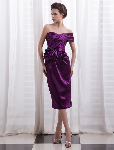 Satin Cocktail Dress Lavender Flower Beaded Prom Dress Off The Shoulder Pleated Sheath Party Dress M