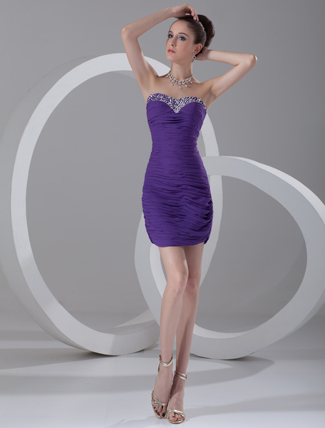 Short Prom Dress Lavender Beading Sweetheart Sheath Cocktail Dress Backless Ruched Mini Party Dress