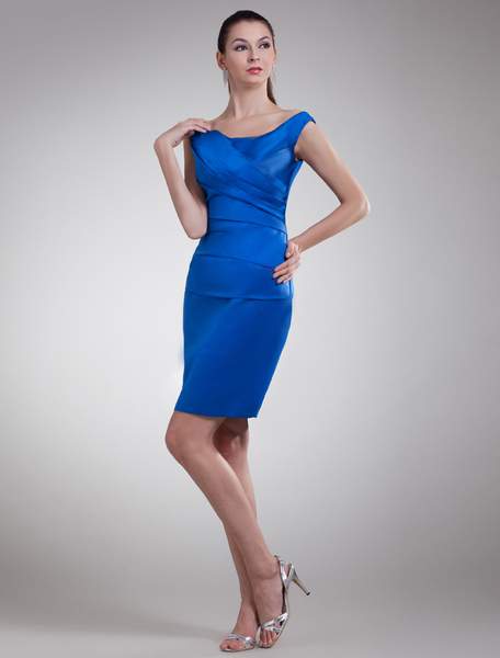 Royal Blue Cocktail Dress Sheath Mother Dress Ruched Satin Short Party Dress