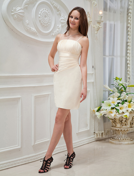 Champagne Cocktail Dress Spaghetti Straps Pleated Satin Dress