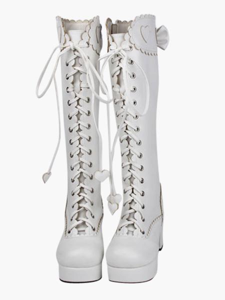 Milanoo coupon: Sweet Matte White Lolita Boots Chunky Heels Platform Shoelace Bows