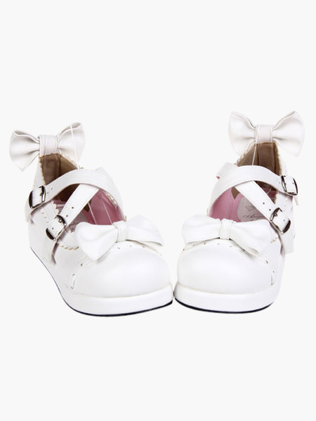 Milanoo coupon: Sweet White Lolita Flats Shoes Platform Bow Decor with Trim