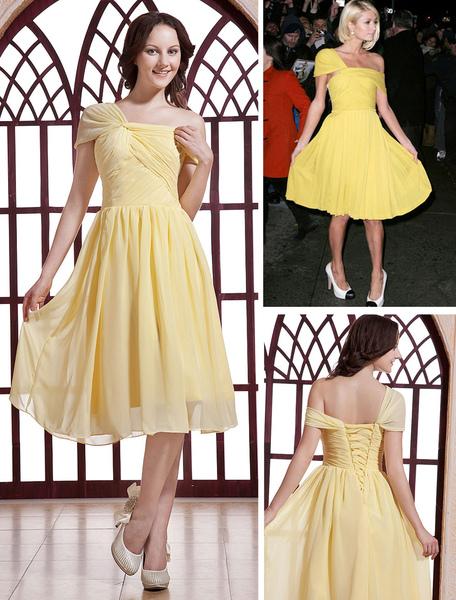 Milanoo coupon: Paris Hilton Fashion Daffodil Satin Chiffon Celebrity Dress