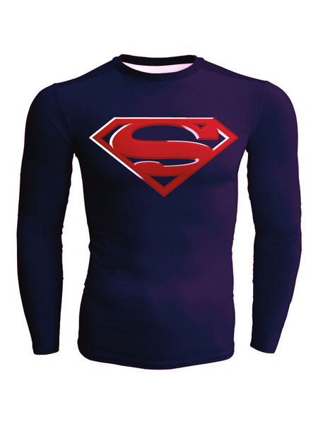 Slim Fit T Shirt For Men In Purple With Super Man Logo