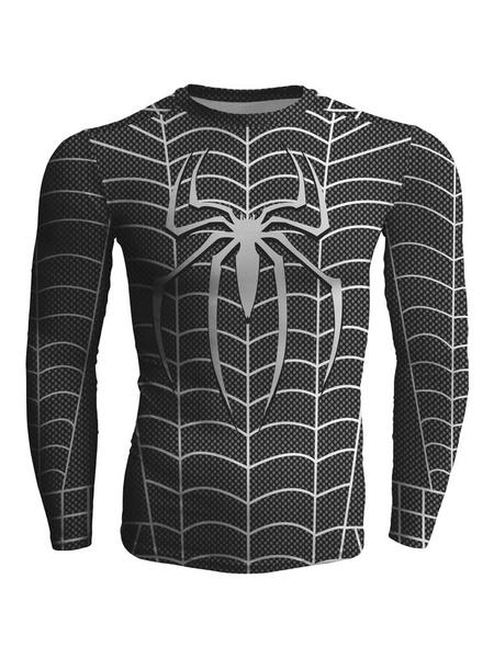 Dark Gray Spider Man Slim T Shirt For Men Long Sleeves