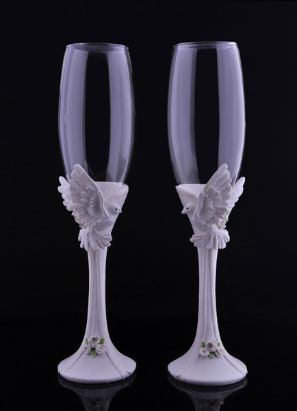 Champagne Wedding Flutes Toasting Flutes Set Doves Studded ( 4.5 Cm X 4.5 Cm X 24.5 Cm )