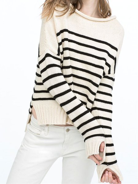 Women's Knit Sweaters Stripes Side Slit High Low Casual Pullover Sweaters