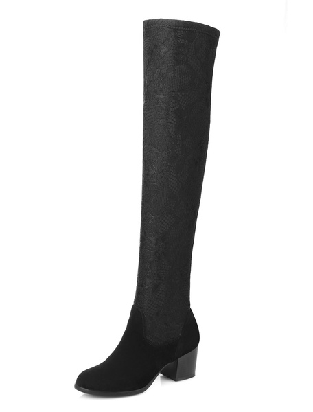 Elastic Women's Boots Over The Knee Chunky Middle Heel Black Long Boots