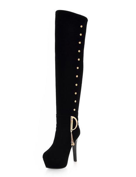 Black Suede Boots Women's Platform Round Toe Chains Metal Details Long High Heels Boots