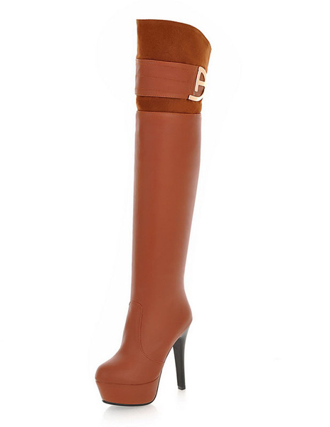 Long Leather Boots Women's Platform Round Toe High Heel Boots For Winter