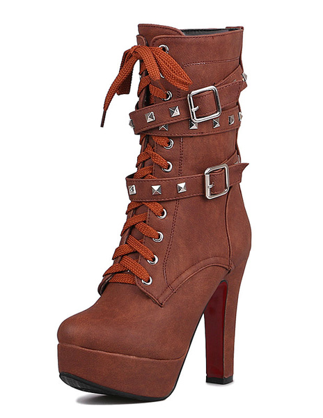 Women's Short Boots Platform Chunky Heel Rivets Buckle Lace Up Boots