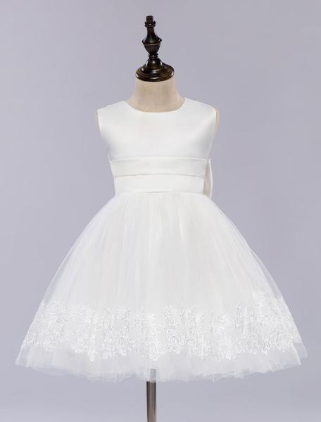 Flower Girl Dress White Pageant Dress Princess Sleeveless Knee-length Girl's Dinner Dress