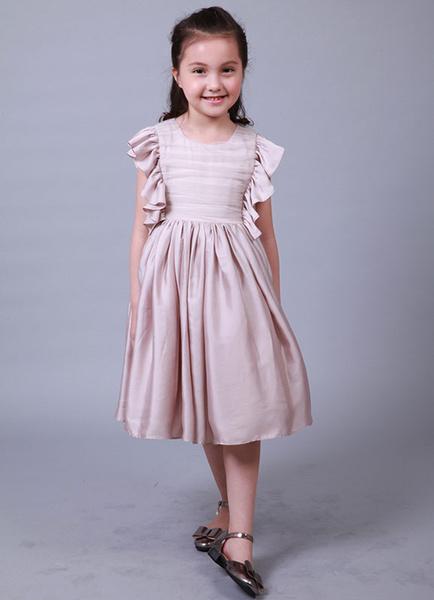 Tea-length Girl's Dinner Dress A-line Ruffles Tea-length Flower Girl's Dress