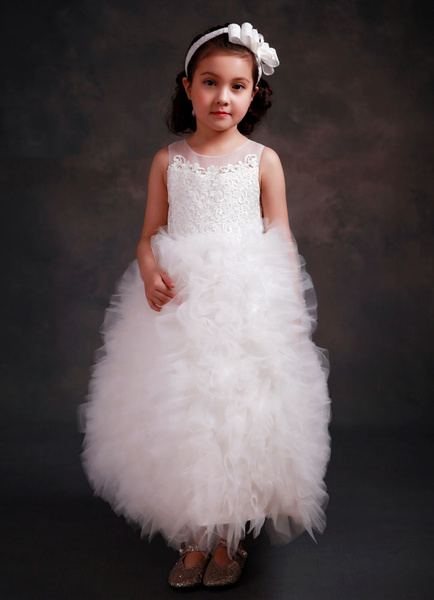 Girl's Pageant Dress Puffy Organza Ankle-length White Flower Girl's Dress