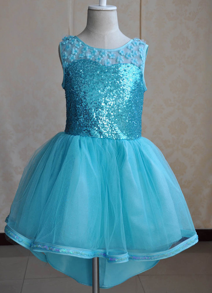 Toddler's Cinderella Dress High-low Blue Pageant Dress Ball Gown Princess Sequin Knee-length Dress