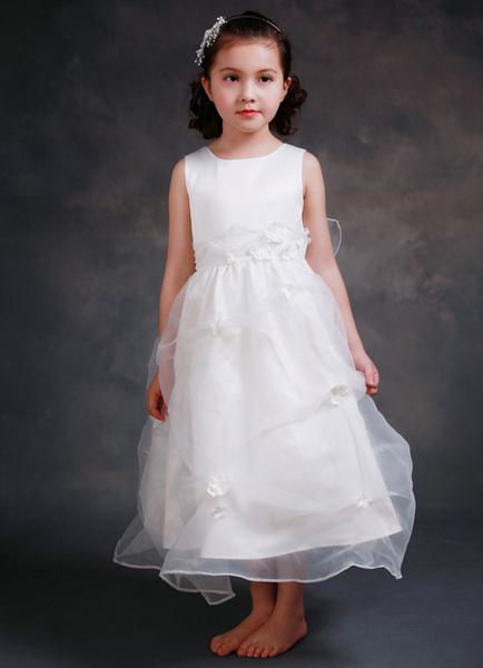 Princess Flower Girl's Dress Ankle-length Satin Girl's Ball Gown Dinner Dress