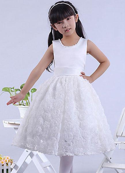 Princess Flower Girl Dress Tea-length Ball Gown Elastic Satin Girl's Pageant Dress
