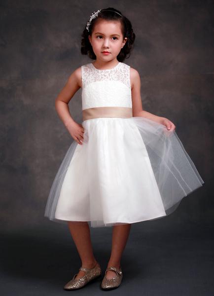 Flower Girl Dress Satin Tea-Length Sleeveless Ribbon Sash Girl's Bows Formal Dress
