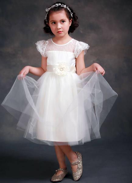 Satin Flower Girl's Dress Ball Gown Illusion Neck Short Sleeves Girl's Princess Formal Dress