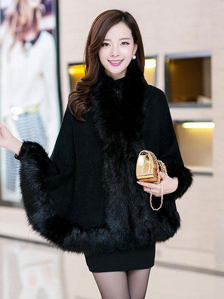 Women's Winter Coat Batwing 3/4-Length Sleeve Cape Coat With Faux Fur