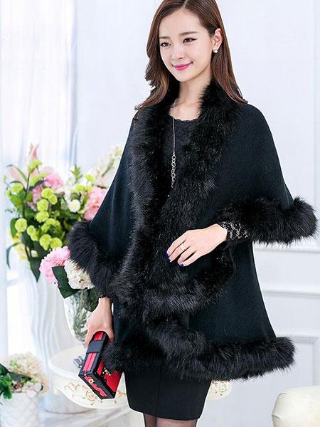 Women's Winter Coat Faux Fur 3/4-Length Sleeve Tiered Cape Coat
