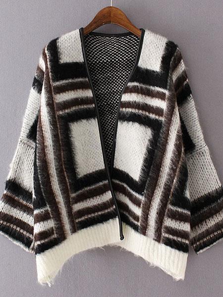 Women's Wool Coat Geometric Pattern Open Front Winter Coat