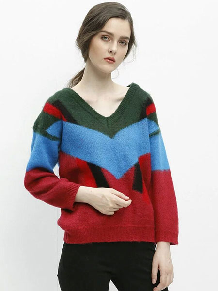 V-neck Knit Sweaters Color Block Women's Pullover Sweaters