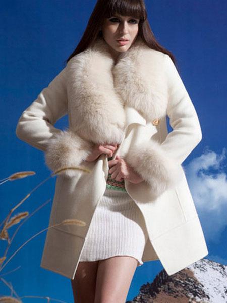 White Wool Coat Faux Fur Pillow Collar Vintage Winter Coat