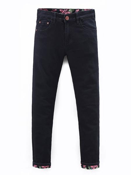 Black Skinny Jeans Men's Straight Printed Modern Denim Jeans