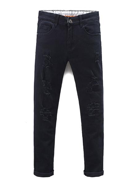Black Ripped Jeans Men's Straight Skinny Denim Jeans