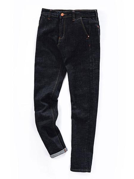 Men's Black Jeans Pockets Detail Modern Straight Skinny Denim Jeans